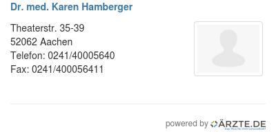 Dr med karen hamberger