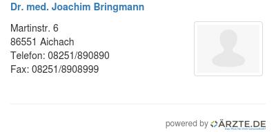 Dr med joachim bringmann
