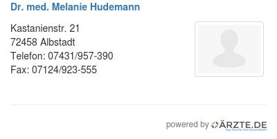 Dr med melanie hudemann