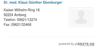 Dr med klaus guenther ebenburger