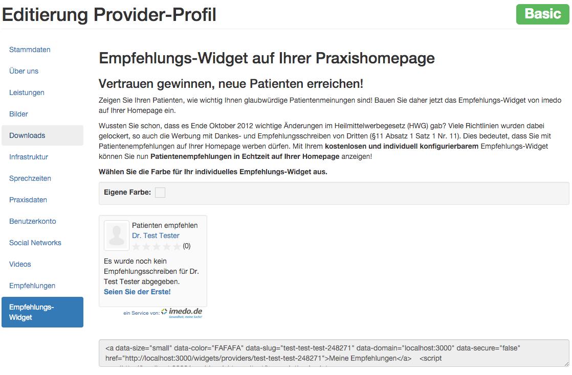 Provider admin widget section