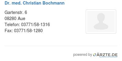 Dr med christian bochmann