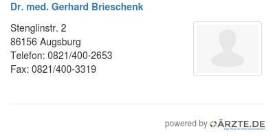 Dr med gerhard brieschenk