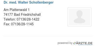 Dr med walter schollenberger