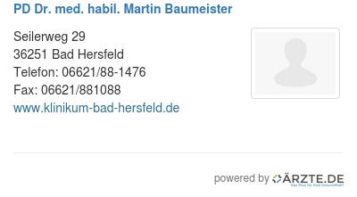 PD Dr. med. habil. Martin Baumeister in 36251 Bad Hersfeld ...
