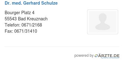 Dr med gerhard schulze