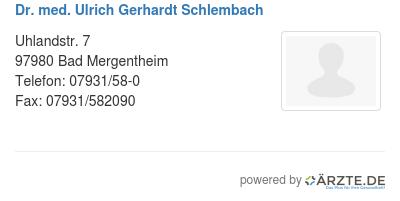 Dr med ulrich gerhardt schlembach