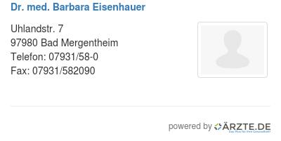 Dr med barbara eisenhauer