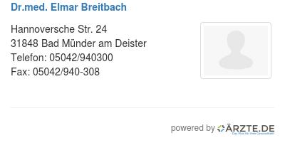 Dr med elmar breitbach