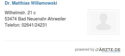 Dr matthias willamowski