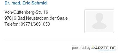 Dr med eric schmid