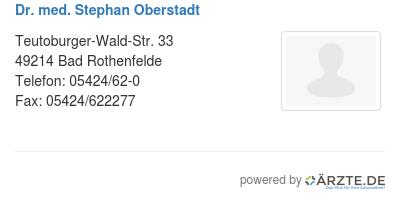 Dr med stephan oberstadt