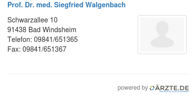 Prof dr med siegfried walgenbach