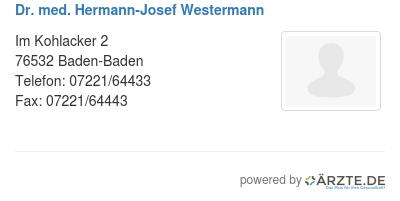Dr med hermann josef westermann