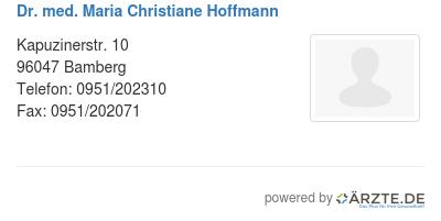 Dr med maria christiane hoffmann
