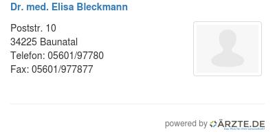 Dr med elisa bleckmann