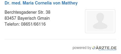 Dr med maria cornelia von matthey