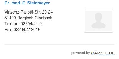 Dr med e steinmeyer