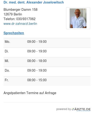 Dr med dent alexander joselowitsch