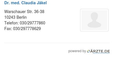 Dr med claudia jaekel