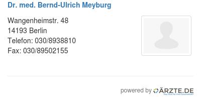 Dr med bernd ulrich meyburg