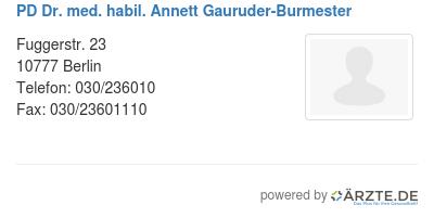 Pd dr med habil annett gauruder burmester 530141