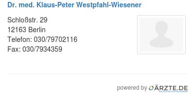 Dr med klaus peter westpfahl wiesener