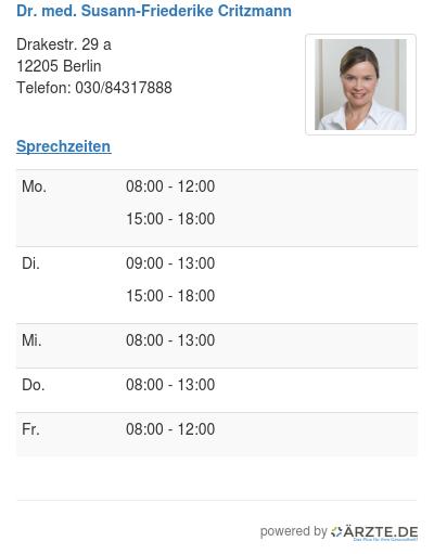 Dr med susann friederike critzmann