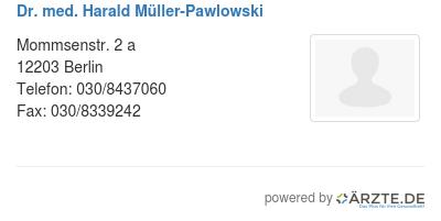 Dr med harald mueller pawlowski