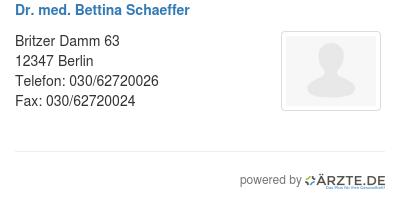 Dr med bettina schaeffer