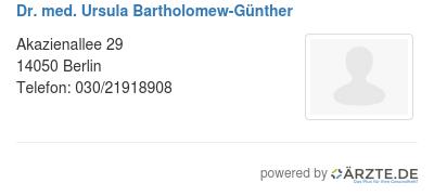 Dr med ursula bartholomew guenther