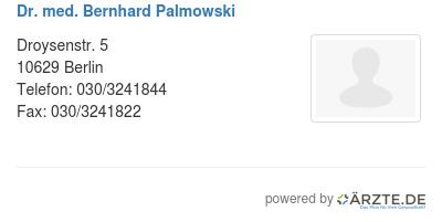 Dr med bernhard palmowski