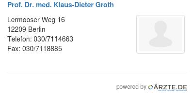 Prof dr med klaus dieter groth