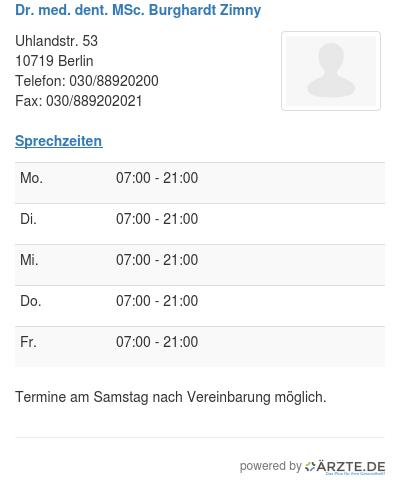 Dr med dent msc burghardt zimny