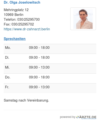 Dr olga joselowitsch