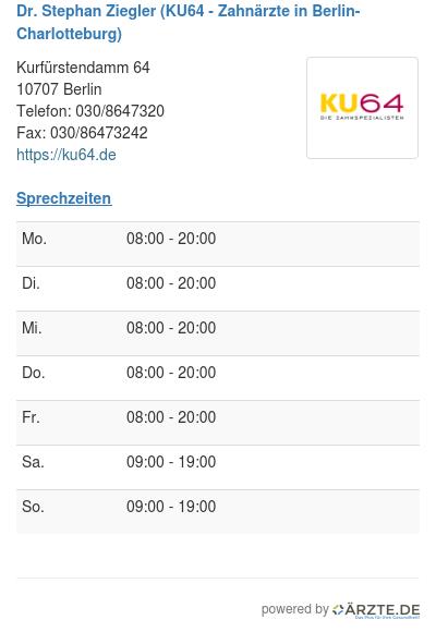 Dr stephan ziegler ku64 zahnaerzte in berlin charlotteburg 514521