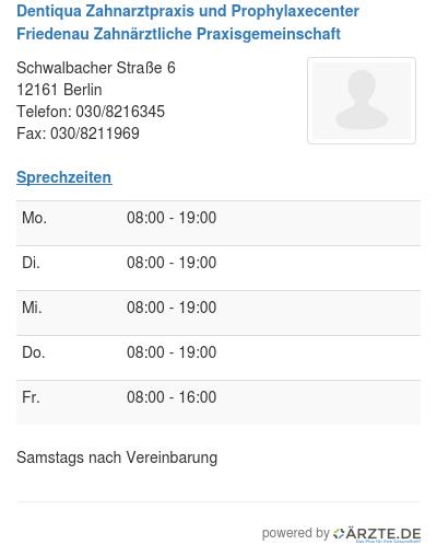 Dentiqua zahnarztpraxis und prophylaxecenter friedenau zahnaerztliche praxisgemeinschaft