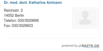 Dr med dent katharina axtmann
