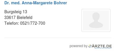 Dr med anna margarete bohrer