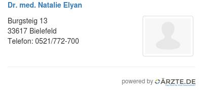 Dr med natalie elyan