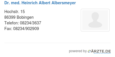 Dr med heinrich albert albersmeyer