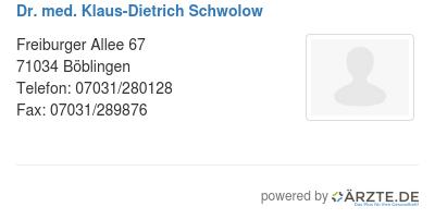 Dr med klaus dietrich schwolow