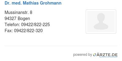 Dr med mathias grohmann