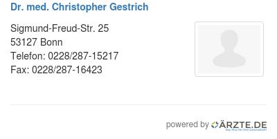 Dr med christopher gestrich