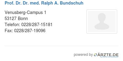 Prof dr dr med ralph a bundschuh