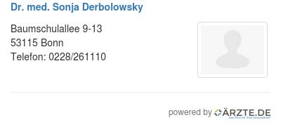 Dr med sonja derbolowsky