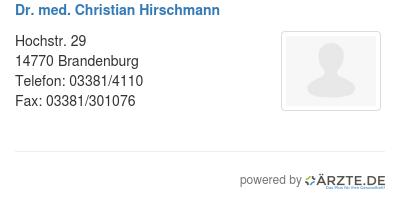 Dr med christian hirschmann