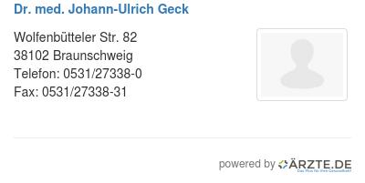 Dr med johann ulrich geck 579676
