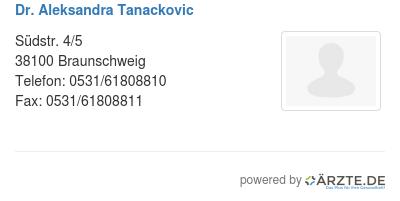 Dr aleksandra tanackovic