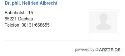 Dr phil helfried albrecht 529286